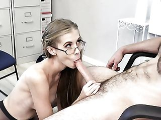 Skinny Lengthy Legged Nerdy Assistant Rails And Bj's Strong Spear In The Office