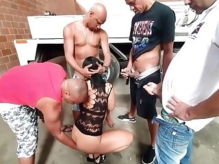 Horny Guys Are Getting Fellatios From A Whorey Dark-haired In A Sexy Sundress, Before Fucking Her