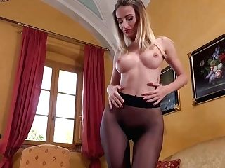 Classy Blonde Honey In A Sexy, Black Sundress, Cara Mell Is Showcasing Us Her Ideally Trimmed Cunt