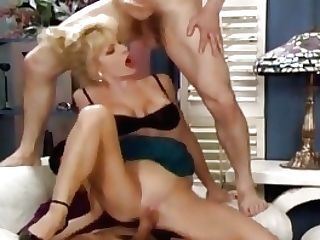Unbelievable Blonde Cougar Gets Good Fucking From Two Fellows